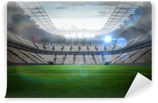 Fototapet av Vinyl Stor fotbollsstadion med ljus