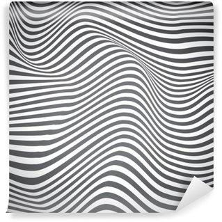 Fototapet av Vinyl Svart och vitt böjda linjer, ytvågor, vektordesign