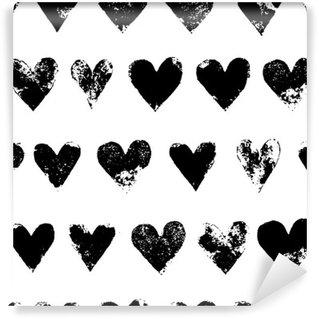 Fototapet av Vinyl Svart och vitt grunge hjärtan ut sömlösa mönster, vektor