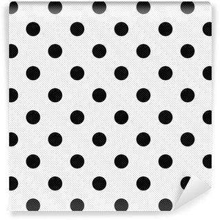 Fototapet av Vinyl Svart polka dots på vit texturerat tyg bakgrund
