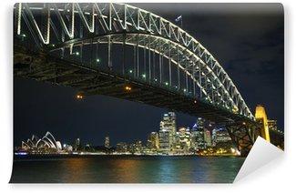 Sydney havn bro i australien om natten Vinyl Fototapet