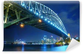 Sydney Skyline and Harbour Bridge om natten Vinyl Fototapet