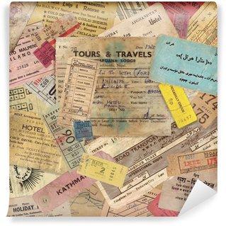 Fototapet av Vinyl Tappning reser bakgrund gjord av gamla dokument
