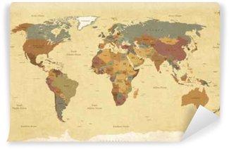 Fototapet av Vinyl Texturerad tappning världskartan - engelska / amerikanska etiketter - vektor CMYK
