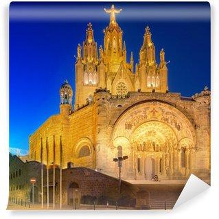 Fototapet av Vinyl Tibidabo kyrka på berget i Barcelona