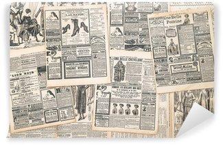 Fototapet av Vinyl Tidningssidor med antika annons