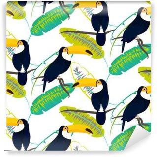 Fototapet av Vinyl Tocotukan fågel på bananblad sömlösa vektor mönster på vit bakgrund. Tropisk djungel blad och exotisk fågel sitter på gren.