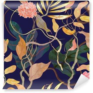 Fototapet av Vinyl Trendiga seamless med hamn tema, watecolor växter