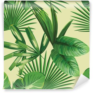 Fototapet av Vinyl Tropisk palmblad sömlös bakgrund