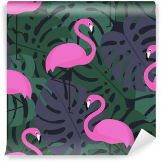 Fototapet av Vinyl Tropisk seamless med rosa flamingos på mörk monstera lämnar bakgrund. Exotiska Hawaii konstbakgrund. Mode design för tyg och inredning.