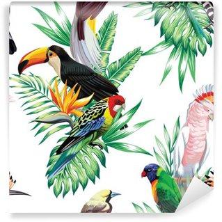 Fototapet av Vinyl Tropiska fåglar och palmblad mönster