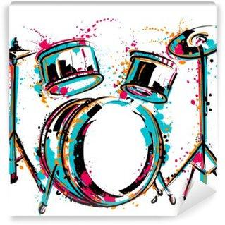 Fototapet av Vinyl Trumset med stänk i akvarell stil. Färgrik handritad vektor illustration