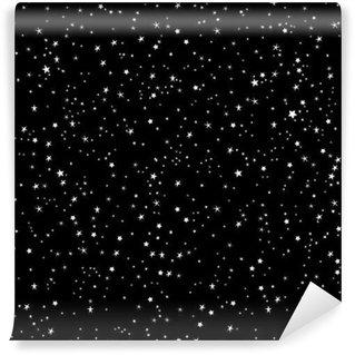 Fototapet av Vinyl Utrymme bakgrund, natthimlen och stjärnorna svartvitt sömlösa vektor mönster