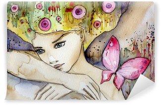 Fototapet av Vinyl Vacker flicka med fjäril