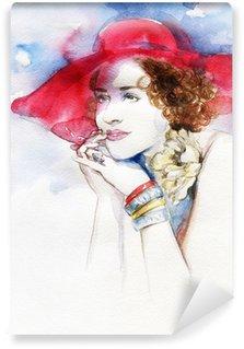 Fototapet av Vinyl Vacker kvinna. akvarell illustration