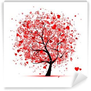 Fototapet av Vinyl Valentine träd med hjärtan för din design