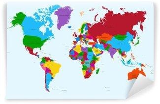 Fototapet av Vinyl Världskartan, färgstarka länder atlas EPS10 vektor fil.