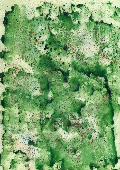 Fototapet av Vinyl Vattenfärg grön bakgrund med röd spray. - Hobby och fritid