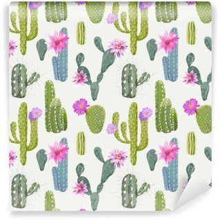 Fototapet av Vinyl Vector Cactus bakgrund. Seamless mönster. Exotiska växter. Tropisk