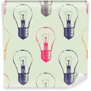 Fototapet av Vinyl Vector grunge sømløs mønster med lyspærer. Moderne hipster skisse stil. Ide og kreativt tenkningskonsept.
