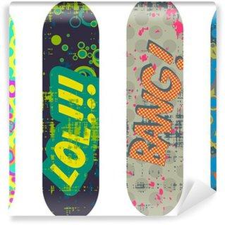 Fototapet av Vinyl Vector skateboard design pack med tecknade stil effekter