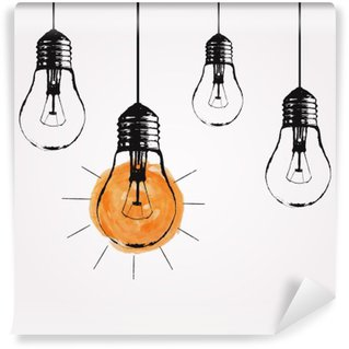 Fototapet av Vinyl Vektor grunge illustration med hängande glödlampor och plats för text. Modern hipster skiss stil. Unik idé och kreativt tänkande koncept.