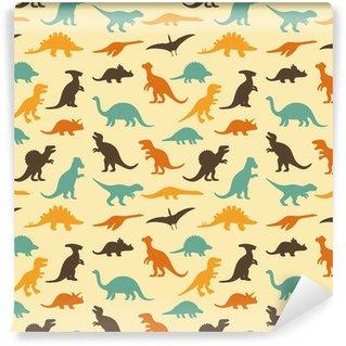 Fototapet av Vinyl Vektor set silhuetter av dinosaurie, retro mönster bakgrund