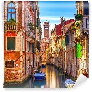Fototapet av Vinyl Venedig stadsbild, vatten kanalen, klockstapeln kyrka och traditionell