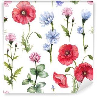 Fototapet av Vinyl Vilda blommor illustrationer. Vattenfärg seamless