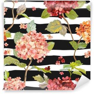 Fototapet av Vinyl Vintage Flowers - Floral Hortensia bakgrund - Seamless