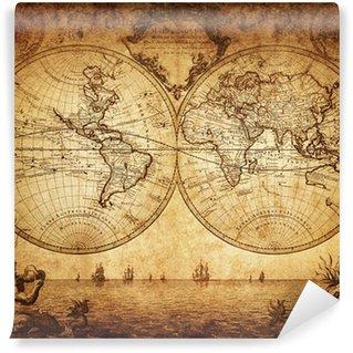 Fototapet av Vinyl Vintagekart over verden 1733