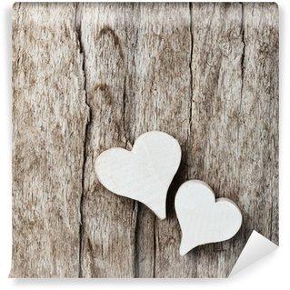 Fototapet av Vinyl Vit hjärta med trä bakgrund