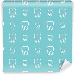 Fototapet av Vinyl Vita tänder på blå botten. Vector tand Seamless.