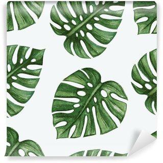 Fototapet av Vinyl Watercolor tropical palm leaves seamless pattern. Vector illustration.