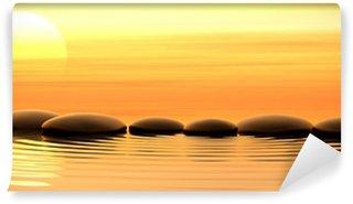 Fototapet av Vinyl Zen stenar i vattnet på solnedgången