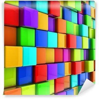 Vinylová Fototapeta 3D barevné lesklé kostky zdi na pozadí.