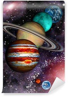 Vinylová Fototapeta 9 planet sluneční soustavy, asteroidů a spirální galaxie.