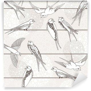 Vinylová Fototapeta Abstract bezešvé vzor. Bird na dráty.