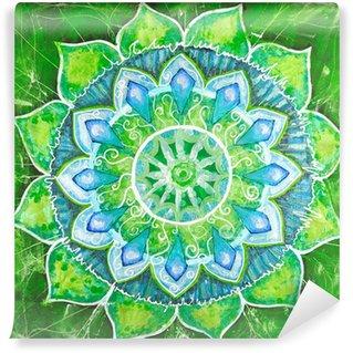 Vinylová Fototapeta Abstract green namalovaný obraz s kruhem vzorem, mandala