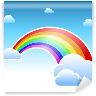 Vinylová Fototapeta Abstract rainbow a mraky symbol
