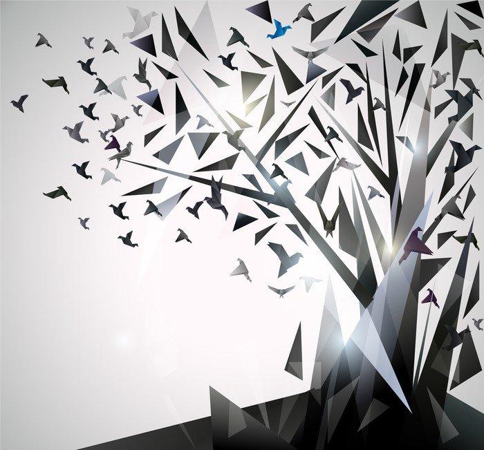 Fototapeta Winylowa Abstrakcyjna drzewa z ptaków origami. - Tematy