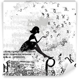 Fototapeta Vinylowa Abstrakcyjny wzór z tekstem grunge dziewczyna