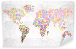 Vinylová Fototapeta Abstrakt mapa světa z barevných pixelů. Vektor