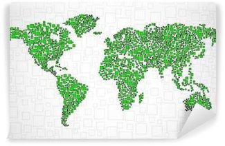 Vinylová Fototapeta Abstrakt mapa světa z čtvereční, styl pozadí