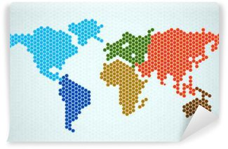 Vinylová Fototapeta Abstrakt mapa světa z šestiúhelníků. Vektorové ilustrace. ePS 10