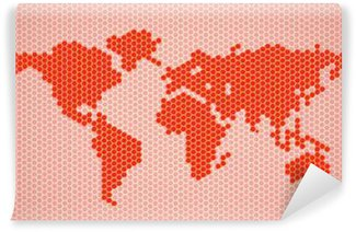 Vinylová Fototapeta Abstrakt mapa světa z šestiúhelníků