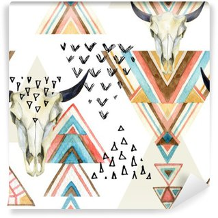 Vinylová Fototapeta Abstraktní akvarel zvířecí lebka a geometrický ornament bezešvé vzor.