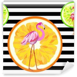 Vinylová Fototapeta Abstraktní ilustrace plameňák na prokládané pozadí s pomeranči, módní design, bezešvé vzor
