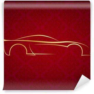 Vinylová Fototapeta Abstraktní kaligrafické logo auto na červeném pozadí