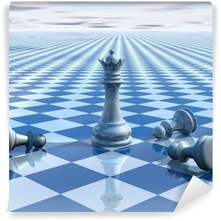 Vinylová Fototapeta Abstraktní neskutečný pozadí s modrým šachy a šachovnicí